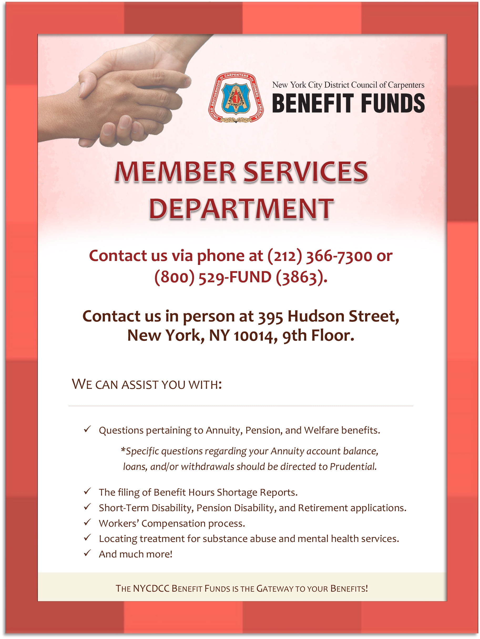 Member Services Department Flyer 2016